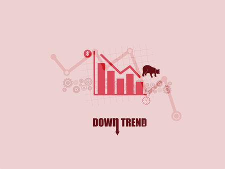 Financial and stock investment market concept. The bear market which price of securities are falling down.