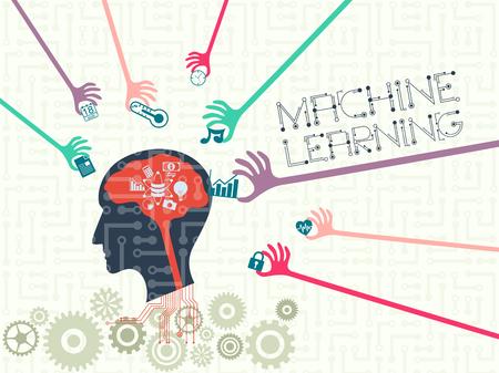 データ技術と機械学習のコンセプト。多くの手は、頭と言葉遣いの中のいくつかのデータベースと人工知能の頭の中に情報を置きます。