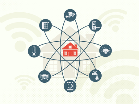 Smart home and Internet of Things concept. Home appliance technology inside the science sign. Illustration