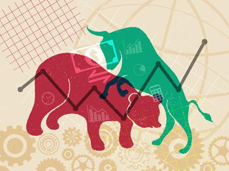 Concept de marché financier et boursier. Fluctuation de la valeur dont le prix monte et descend en cours de route.