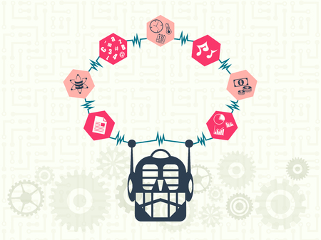 Data technology and machine learning concept. Robot head with electric signal around the hexagon which have many kind of information icon inside. Illustration