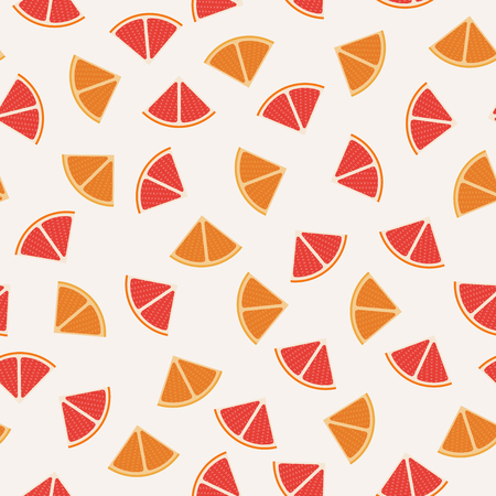Tangerine, grapefruit and orange graphic design sliced in triangle pieces and arranged into seamless pattern background. Illustration