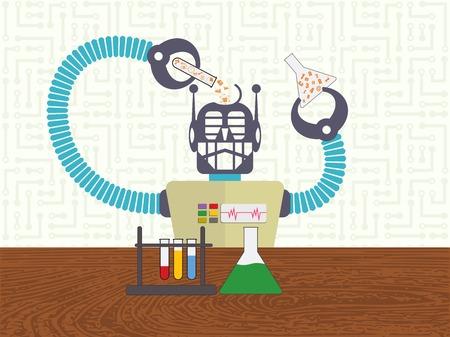 データ科学、機械学習概念、背景に電子回路とその頭に化学チューブから情報を入れてロボット。