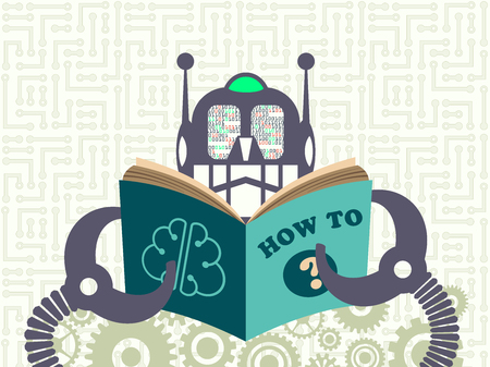 Data technology and machine learning concept. Robot reading a book with digital information in its eyes with cogs and electronic circuit on background.