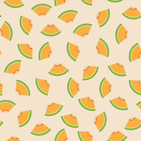 Cantaloupe graphic design sliced in triangle pieces and arranged into seamless pattern background.