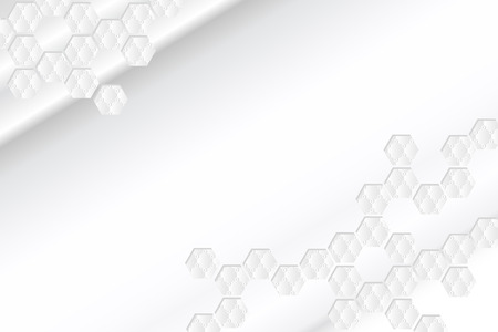 White background shading with hexagon shape graphic decoration in the corner.