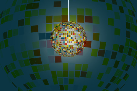 Sparkling disco ball shine with colorful reflection spread around.