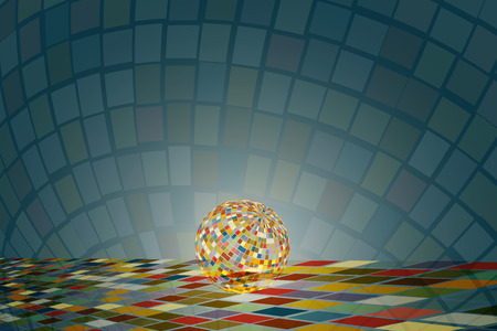 Sparkling disco ball on the colorful square tile floor with colorful reflection shine and spread around on background.