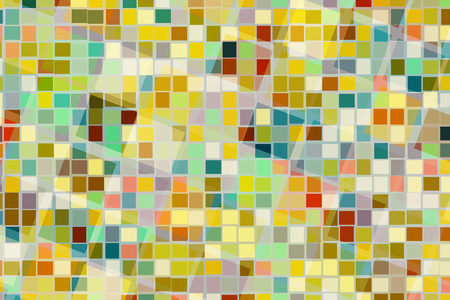Abstract background of colorful square shape in different size cross and blend together. Ilustrace