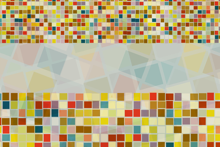 Abstract background of colorful square shape in different size cross and blend together with empty space in the center.