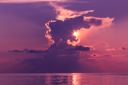 Landscape of sunset with dramatic sky on background and sea. Stock fotó - 126325846
