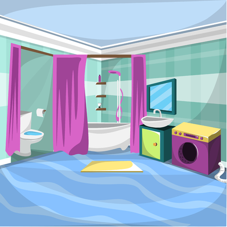 Bathroom Interior Room Funiture with Bathup with shower curtain, washing machine, White Closet with mirror for Cartoon Vector Architecture Decoration Ilustration Concept Idea