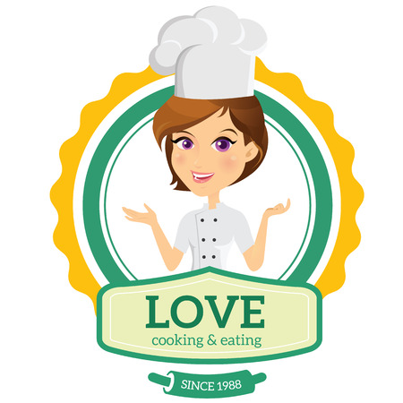 women talking: love cooking logo - chef logo