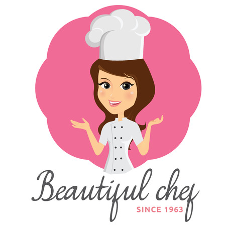 cartoon human: beautiful chef - chef logo Illustration