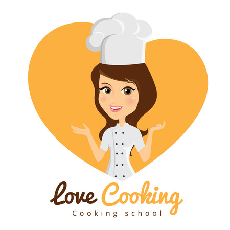 women talking: Love cooking - woman character Illustration