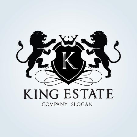 leones: Logotipo de lujo de la vendimia