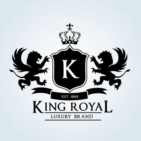 rey: Logotipo de lujo de la vendimia
