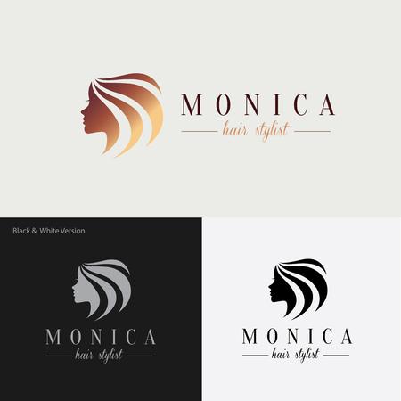 pelo: logotipo de la belleza, logotipo del �rbol, logotipo femenino, modelo de la insignia del vector