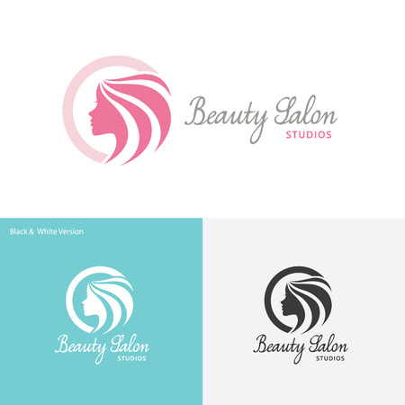 long hair: Beauty Care logo,Feminine Logo,beauty salon logo,vector logo template