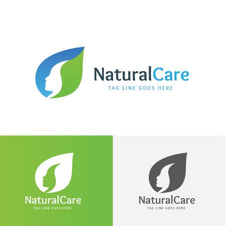 Natural Logotipo de la atención, logotipo femenino, logotipo del salón de belleza, modelo de la insignia del vector
