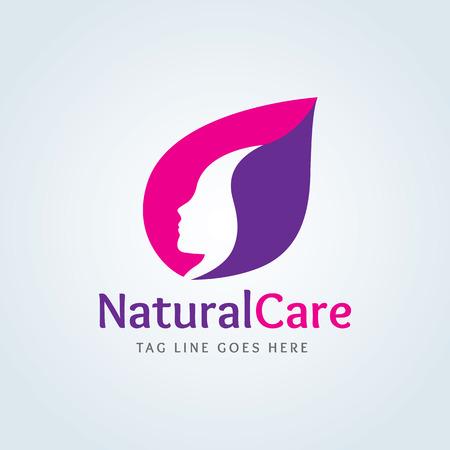 logo Natural Cura, Femminile Logo, salone di bellezza logo, logo vettoriale template Logo