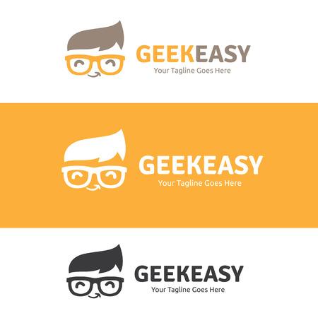 オタク簡単ロゴ、オタクのロゴ、ロゴのアイデア、学習ロゴ、ベクトルのロゴのテンプレート  イラスト・ベクター素材