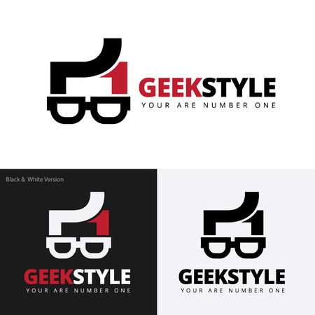 geek: el logotipo del estilo friki, friki logotipo, logotipo de la plantilla de vectores Vectores