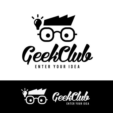 괴짜 클럽 로고, 아이디어 로고, 벡터 로고 템플릿