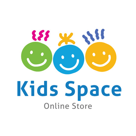 kid shopping: Kids logo,kids logo design template,vector logo template Illustration