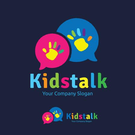 Kinder-Logo, Kinder Logo-Design-Vorlage, Vektor-Logo-Vorlage