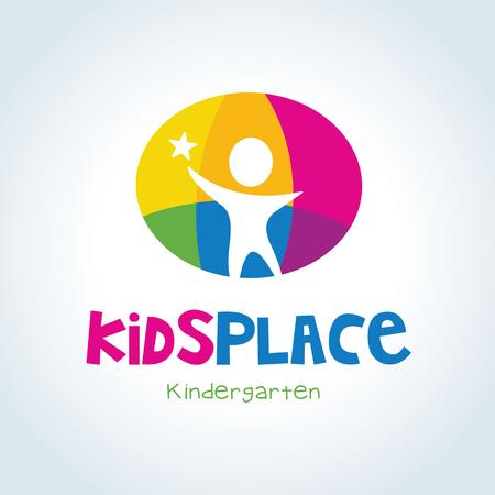 enfants chinois: logo enfants, enfants logo modèle de conception, vecteur logo modèle