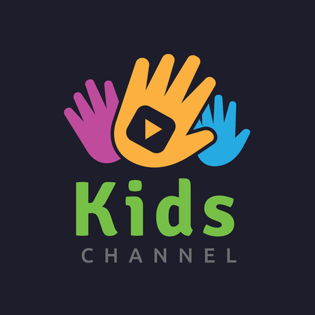 Kids logo,kids logo design template,vector logo template Vectores