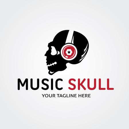 Rock head and skull logo, sound logo template.