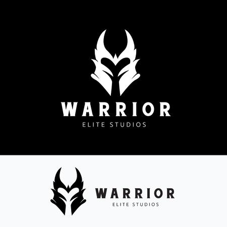 vikingo: Warr, logotipo del cr�neo, tatuaje del vector, vector de plantilla de logotipo