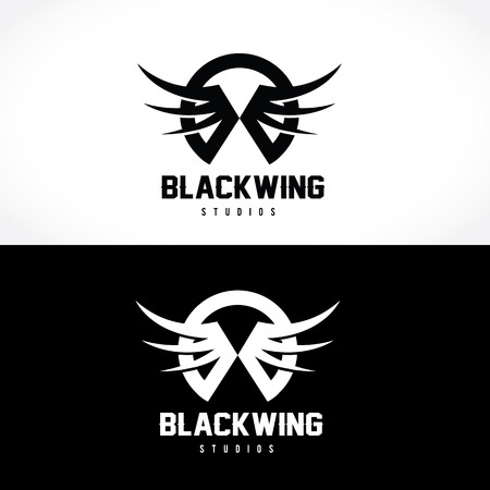 alternative rock: dark wing,Skull logo,tattoo vector,vector logo template