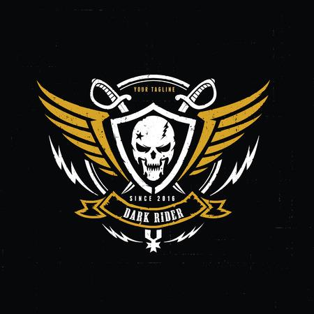 calaveras: logotipo de la cresta, logotipo de la victoria, logotipo del cráneo, tatuaje del vector, vector de plantilla de logotipo