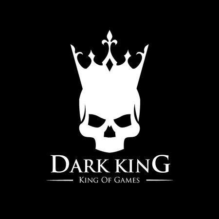 Schedel van de Koning logo, tattoo vector, vector logo template