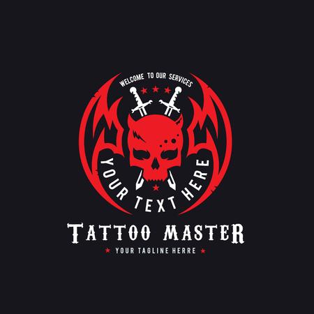 Skull logo,tattoo vector,vector logo template