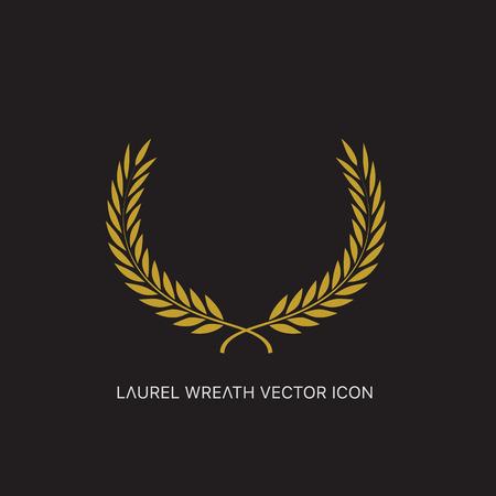 victory sign: Vector gold award laurel wreath. Illustration
