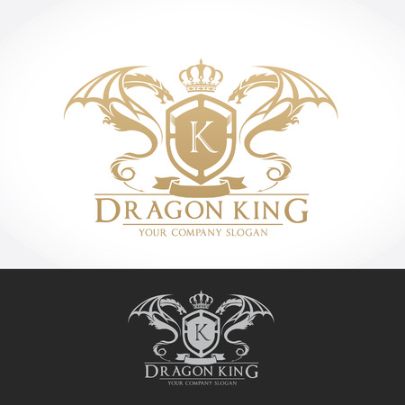 Dragon King Vector Logo Template. Illustration