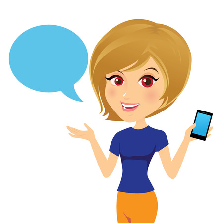 Female customer support operator with smart phone and smiling. Illustration