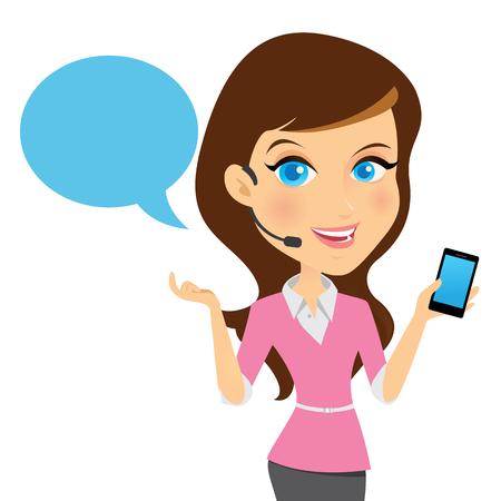 스마트 폰과 웃는 여성 고객 지원 연산자.