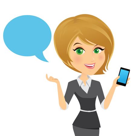 call centre girl: Female customer support operator with smart phone and smiling, Character design cartoon version. Illustration