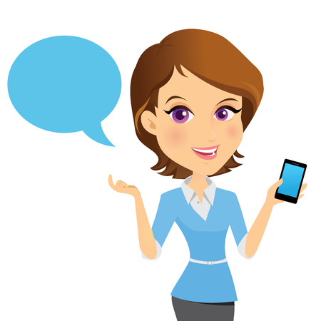 Female customer support operator with smart phone and smiling, Character design cartoon version. Illustration