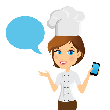 call centre girl: Female customer support operator with smart phone and smiling. Illustration