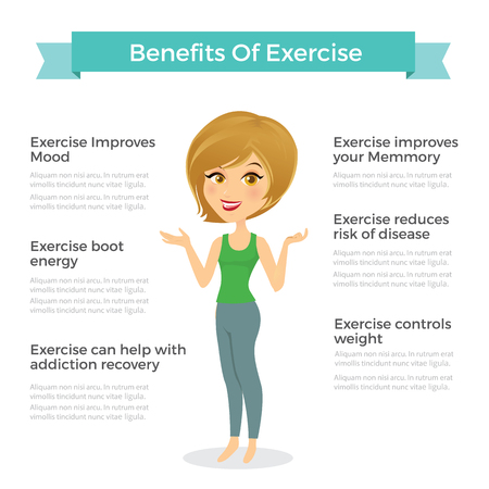 Benefits of exercise infographic Vectores