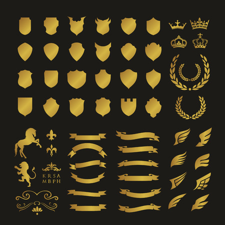 safeness: Crests logo element set.Heraldic logo,shield logo element,vintage laurel wreaths, heraldic icons