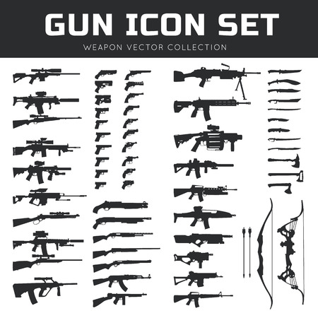 automatic rifle: Set icons of weapons. Vector illustration Illustration