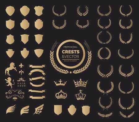 家紋ロゴ要素セット、賞月桂樹の花輪と枝、紋章付き外衣の要素ベクトル図のセット。  イラスト・ベクター素材
