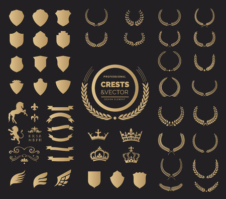 Crest logo element set,Set of award laurel wreaths and branches,Coat of arms element, vector illustration.